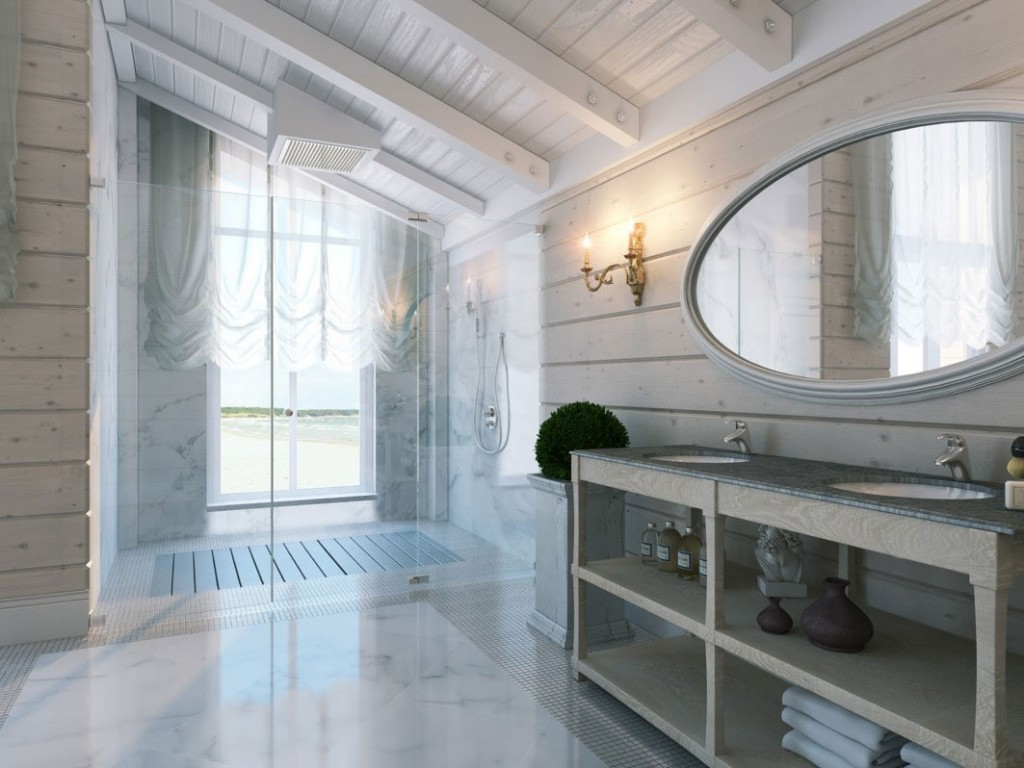 Amazing Shower and Sink White Bathroom with Sloping Ceiling Ideas