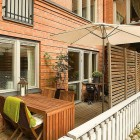 Apartment Outdoor Design with Wooden Floor Application