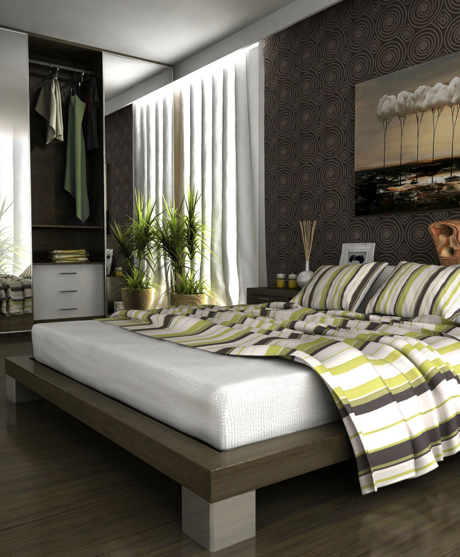 Awesome Modern Gray Bedroom with Striped Cover Design