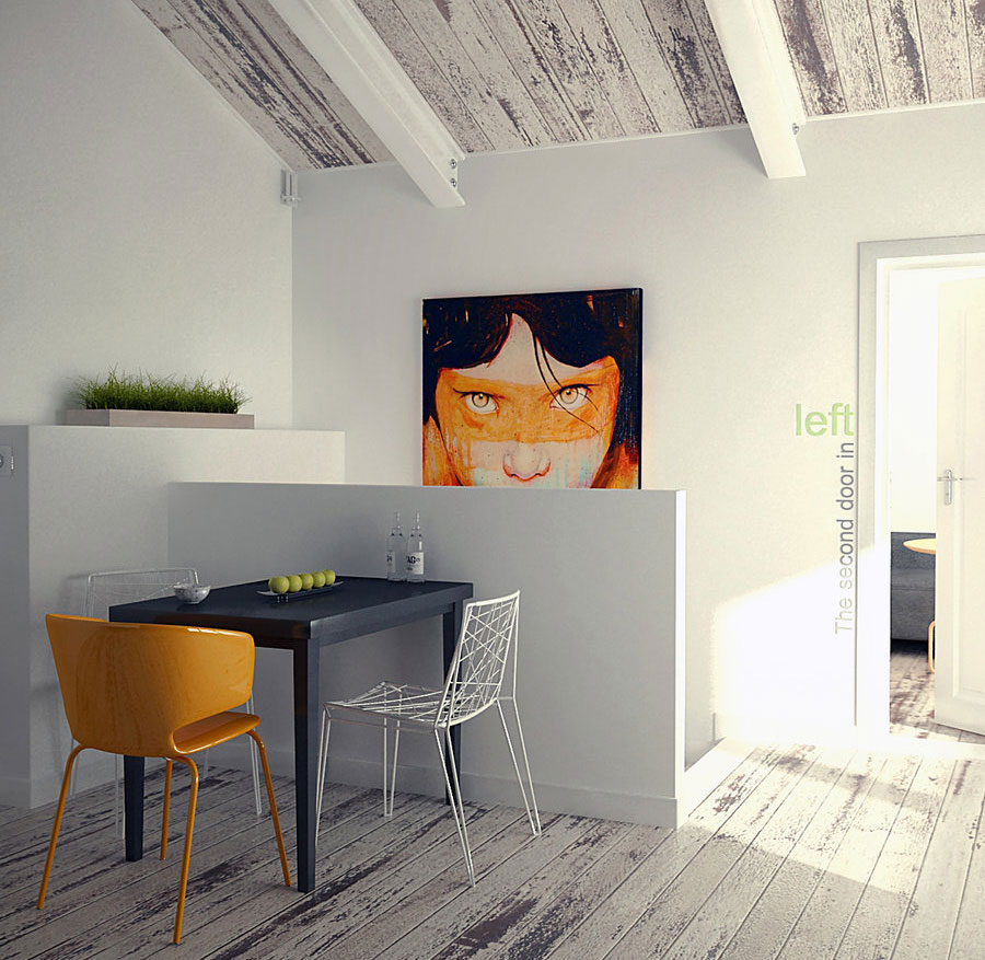 Beautiful Small Dining Space with Orange Chair