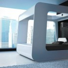 Beautiful White Television Bed