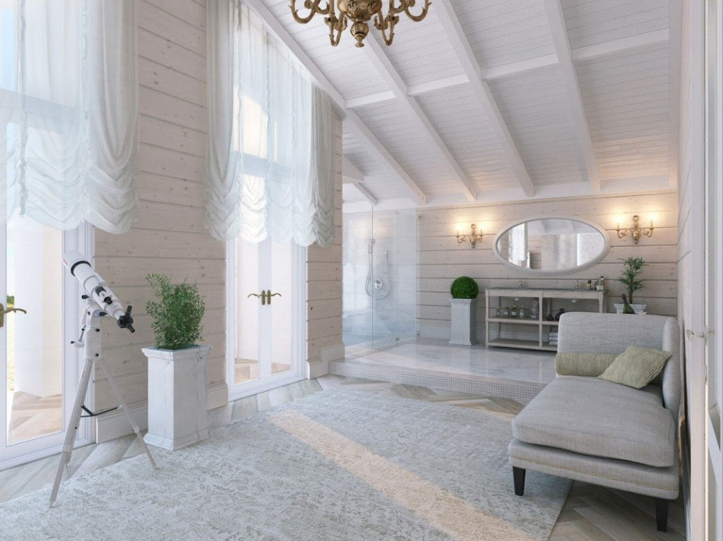 Beautiful white Bathroom With the Chaise Long and Sloping Ceiling