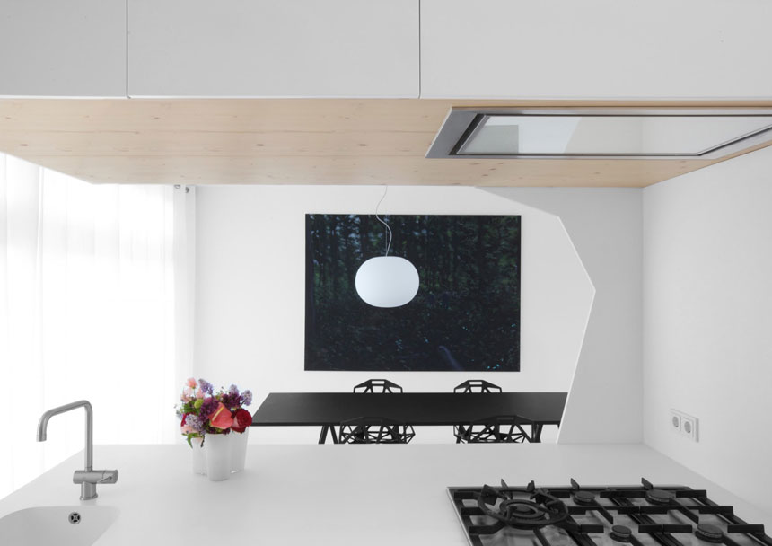 Clean Dining Room with Black Table