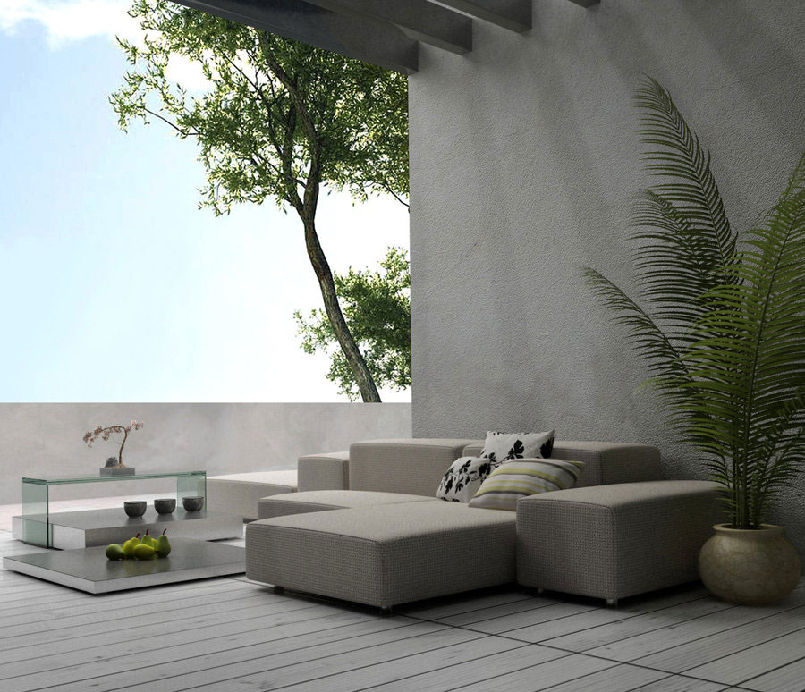 Cool Balcony with Grey Sofa Ideas