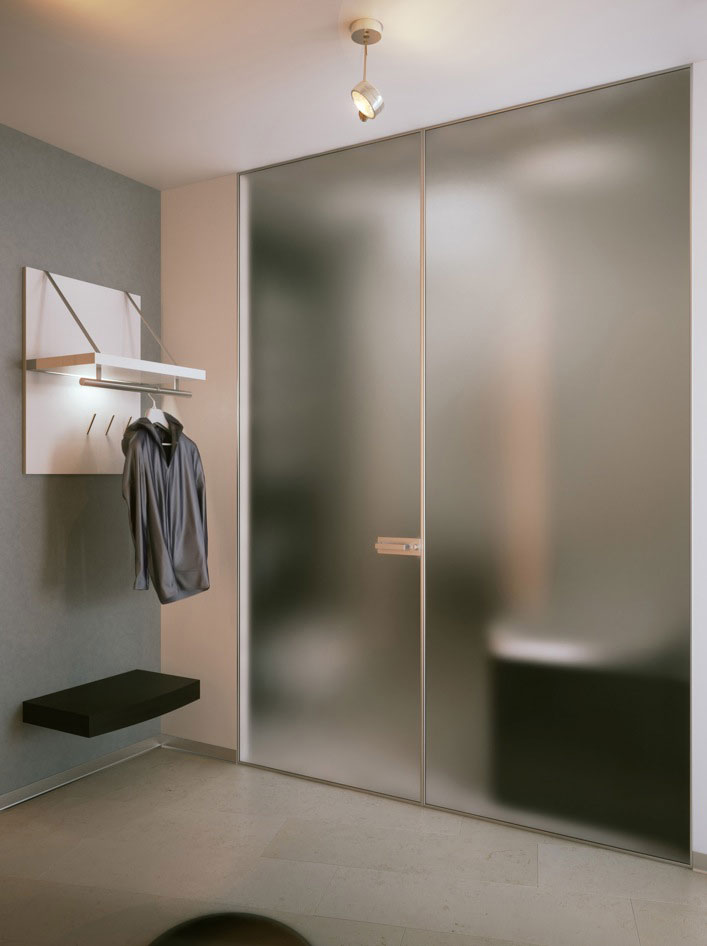 Cool Blurred Bathroom Glass Doors Interior Design Ideas