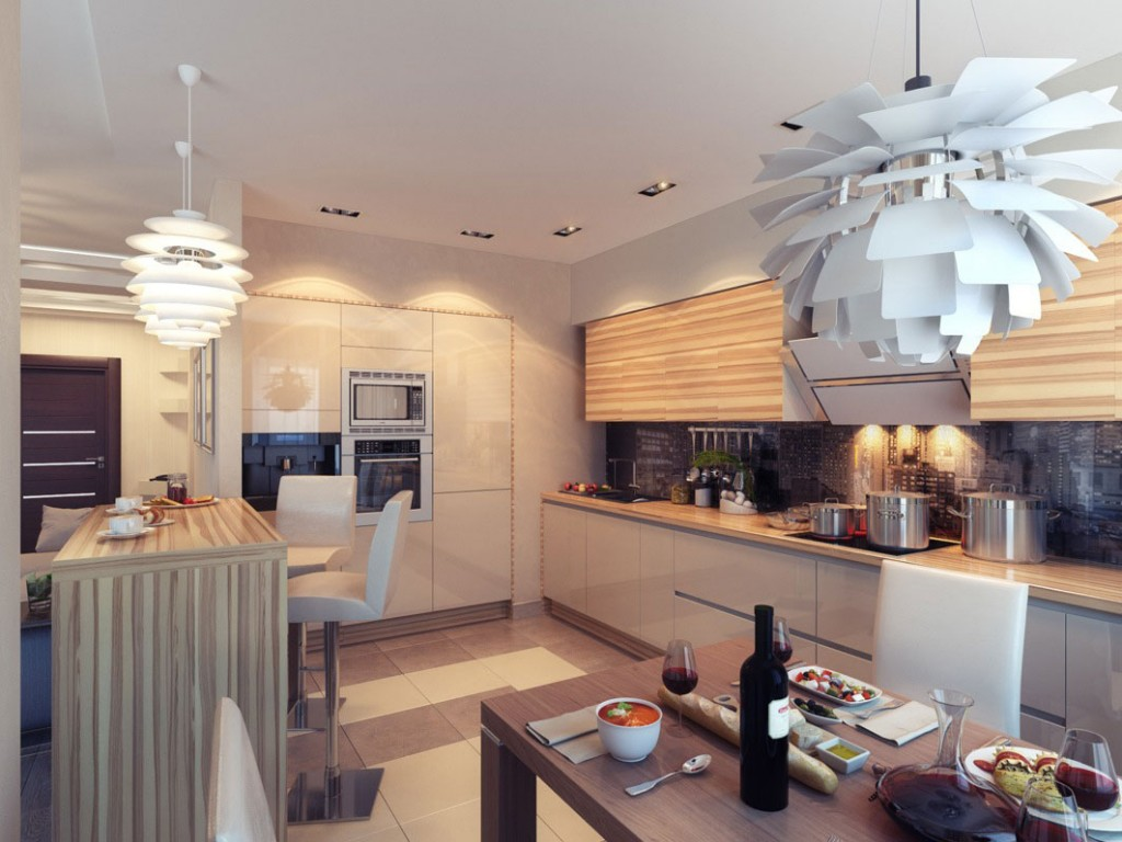 Cool Kitchen with Ambient White Lighting Ideas