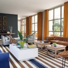 Cool Living Room Design with Striped Rugs Ideas