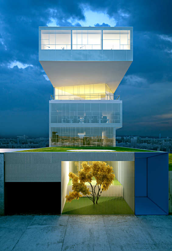Modern and beautiful offices of stelmat teleinformatica for Office design exterior