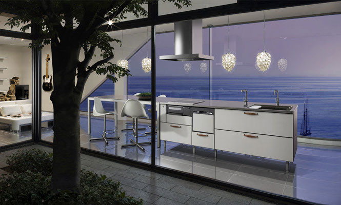 Cozy Modern Kitchen with Sea View