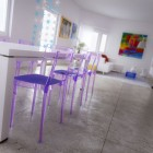 Dinning Table with Purple Plastic Chair Rainbow