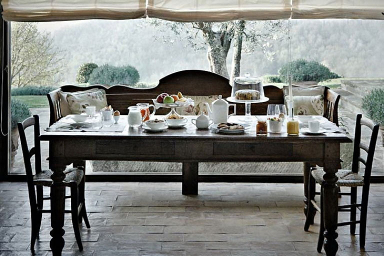 Elegant Classic Dining Table Contryside View