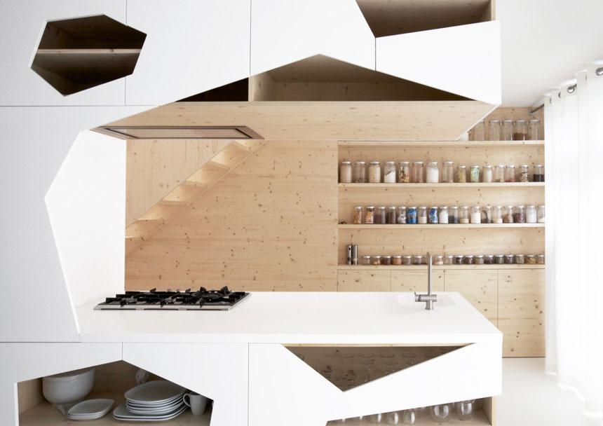 Fancy Kitchen Storage with Wooden Furniture Set