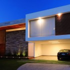 Front View Modern House with Tiles Wall Decor