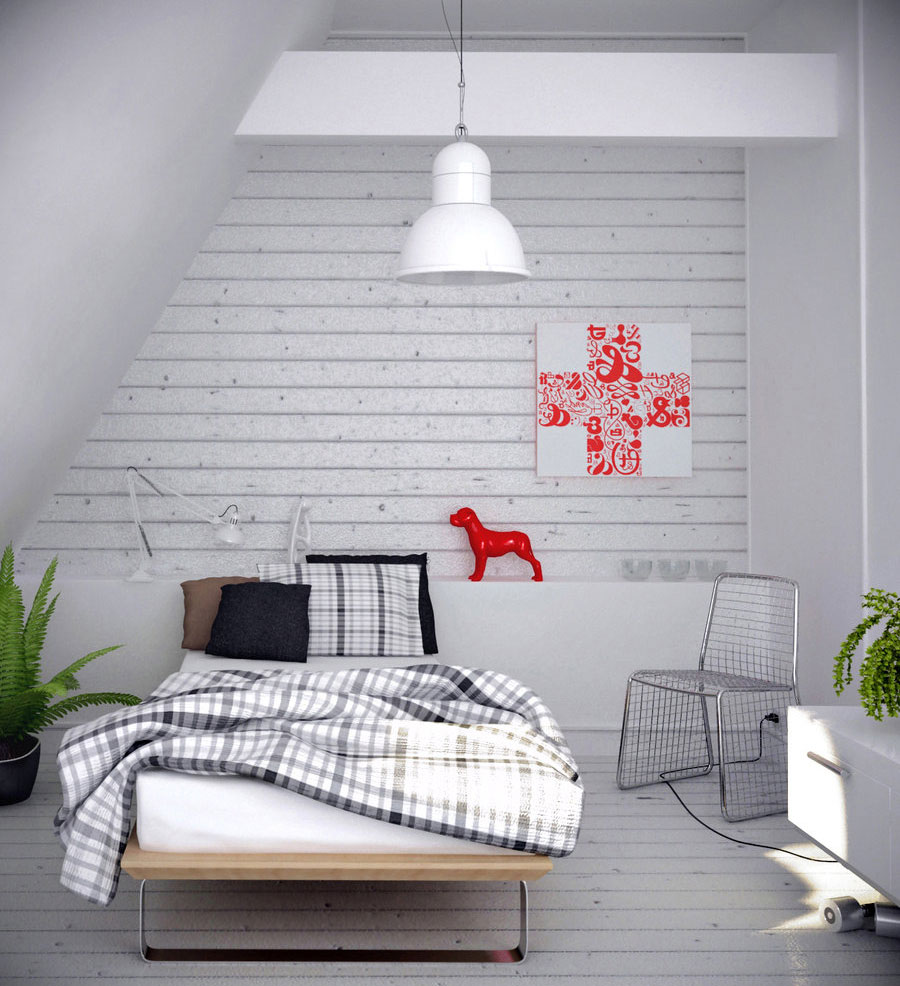 Grey Bedroom Design with Wooden Wall Ideas