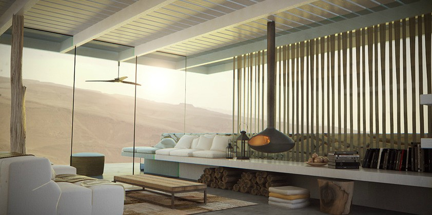 Home in Desert Lookout with Glass Wall