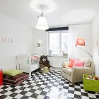 Kids Room Apartment with Black and White Checkered Floor Decor