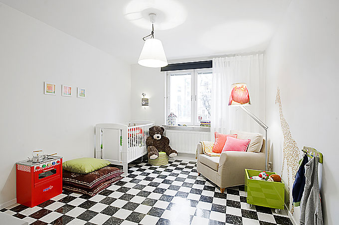 Kids room apartment with black and white checkered floor for Black and white kids room
