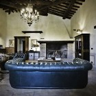 Luxury Black Leather Couch in Living Room