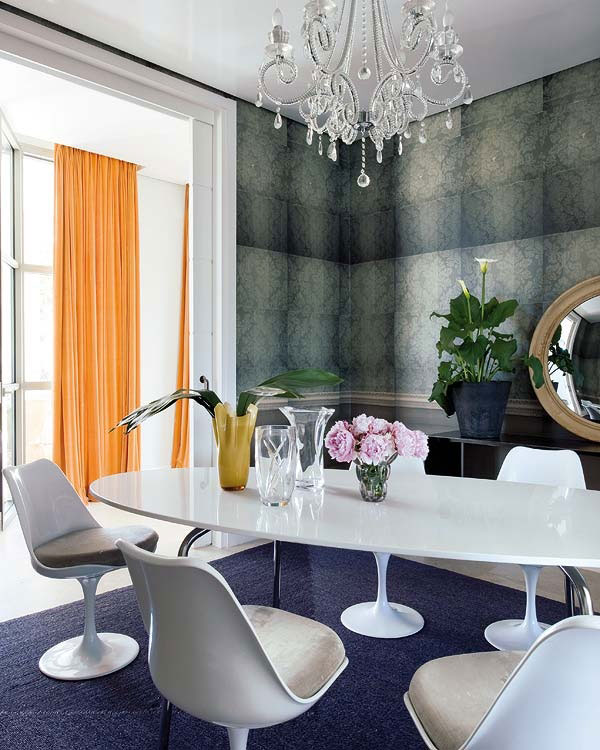 Luxury White Dining Room with Crystal Chandelier