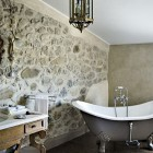 Luxury and Classic Bathroom Style with Elegant Rock Wall