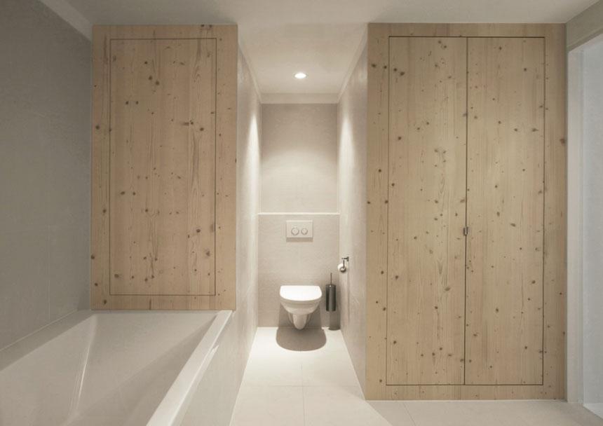 Modern Simple Bathroom with Wooden Storage