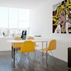 Minimalist Office Interiors with Retro Wall Art Decor