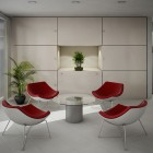 Minimalist White Red Seating Living Room Ideas