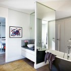 Modern Bathroom with Large Mirror Decor