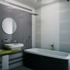 Modern Grey Bathroom with Bath Lighting