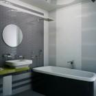 Modern Grey Bathroom with Bath Lighting