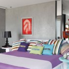 Modern Grey Bedroom with Purple Cover