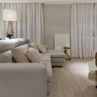 Modern Grey Sofa with Stripeed Pillow Decor