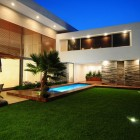 Modern House Exotic Backyard at Night