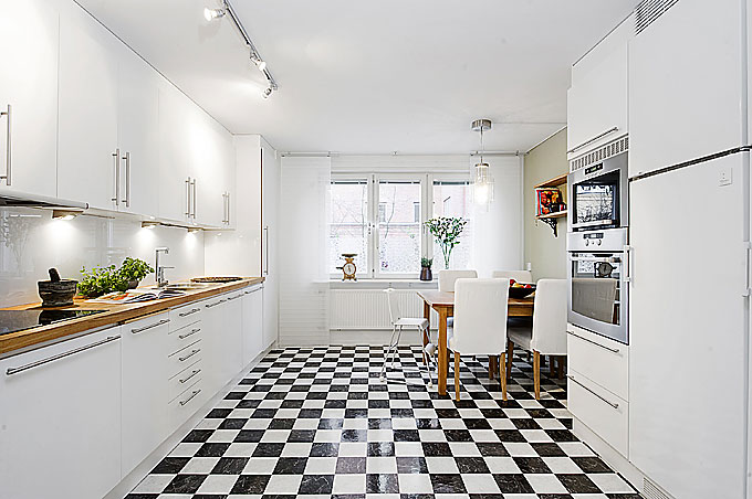Modern Kitchen Apartment with Black and White Checkered Floor
