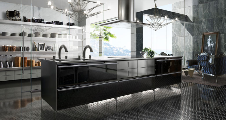 Modern Kitchen With Black Luxury Shelfs