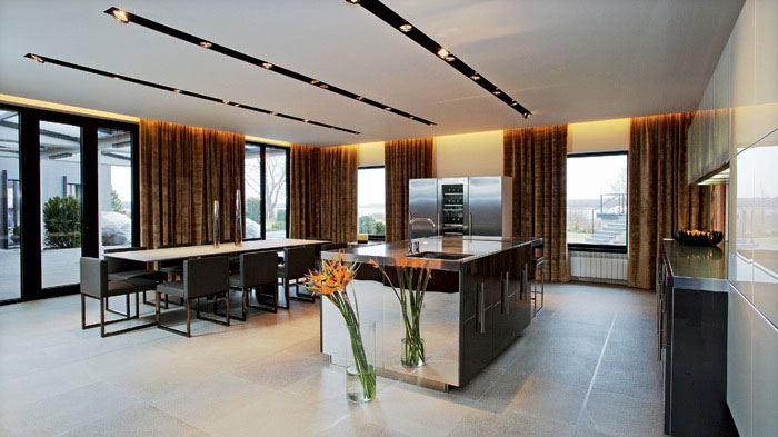 Modern Kitchen and Dining Room in One Area