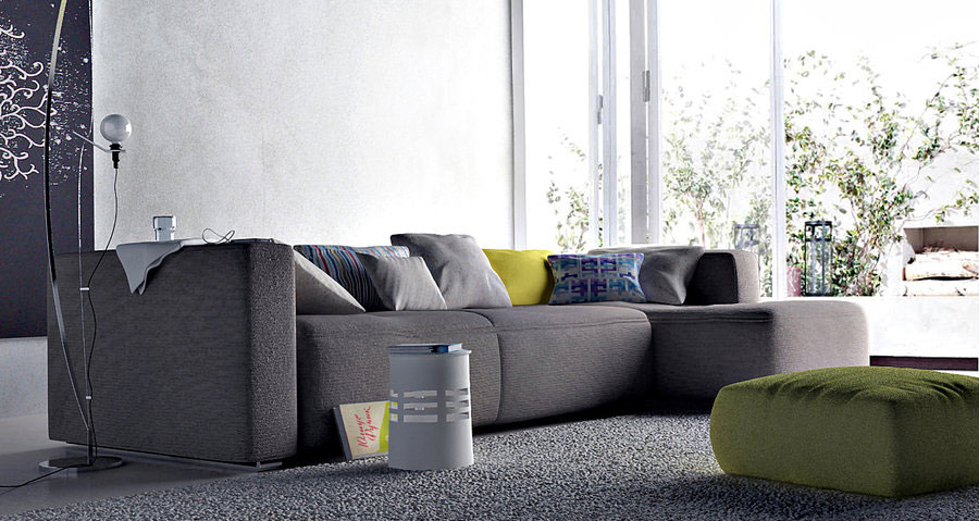 modern living room with awesome grey sofa interior
