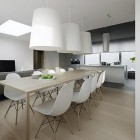 Modern Minimalistic Dining Room Design with Modern White Lanterns