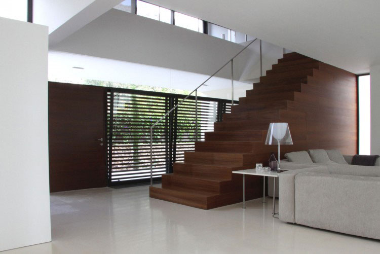 Modern Stairway Design with Wood Material