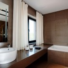 Modern White and Brown Bathroom Design