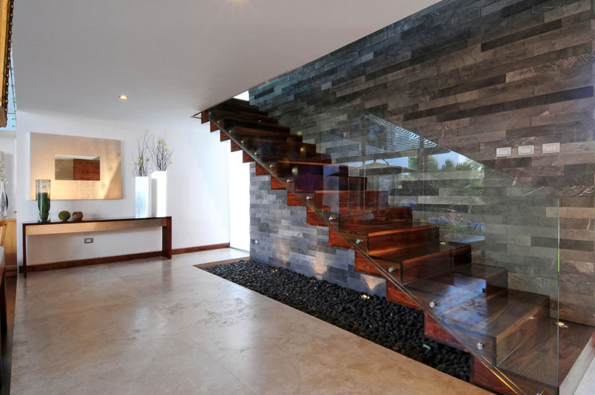 Modern Wooden Stairs With Glass Interior Design Ideas