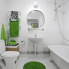 Simple Bathroom Apartment with Green Accents