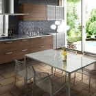 Small Open Kitchens with Floor Block Design