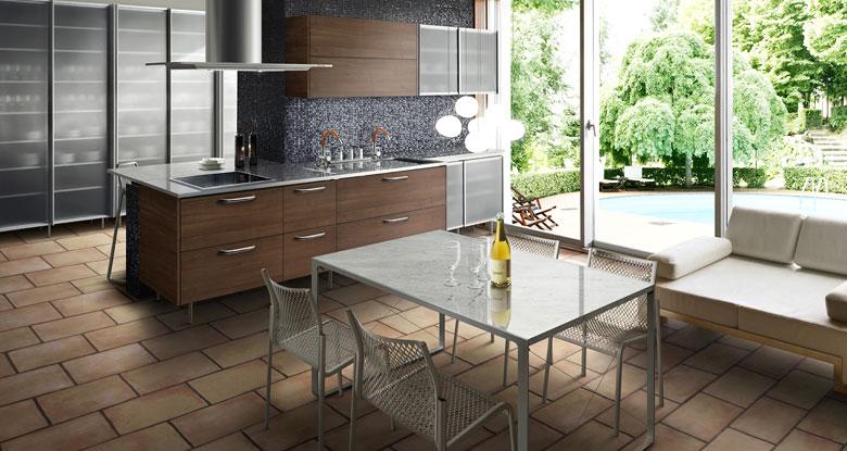 Small Open Kitchens with Floor Block Design