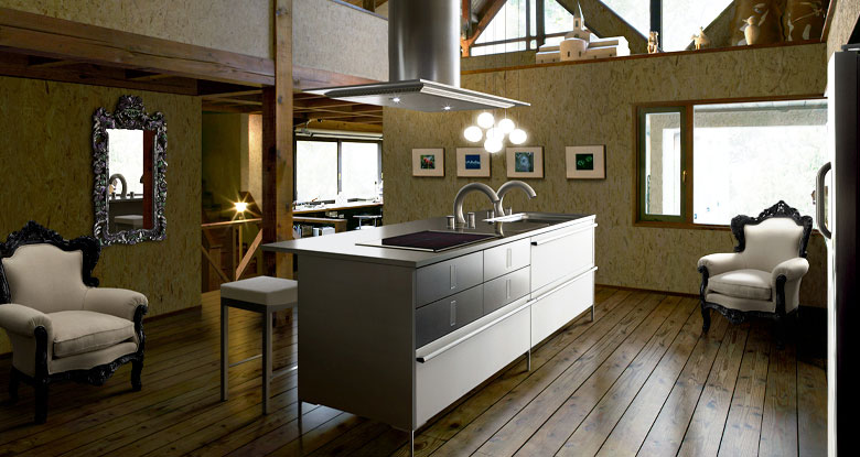 Vintage Kitchen with Steel Counter top