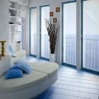 White Blue Seating in Blacony Sea View