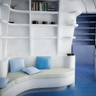 White Blue Sitting Corner Sofa