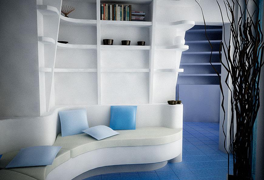 White Blue Sitting Corner Sofa