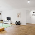 White Living Room Apartment with Black Chandelier and Wood Floor