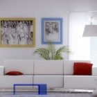 White Red Living Room with Blue Plastic Table